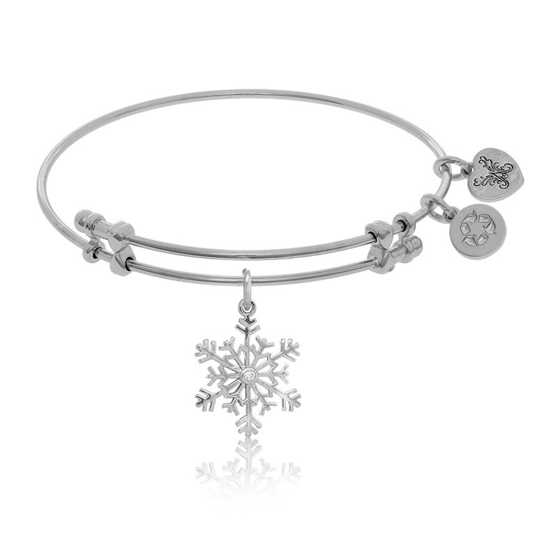 Snowflake & Crystal Charm Bangle Bracelet in White Brass