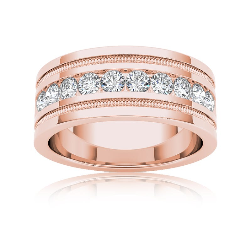 Men's Diamond 1+ Carat 10-Stone Wedding Band in 14k Rose Gold