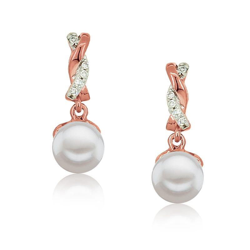 Pearl & Diamond Twist Drop Earrings in 10k Rose Gold