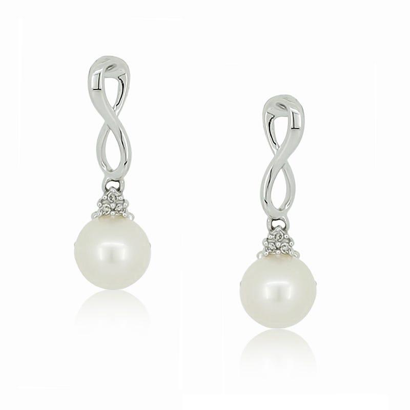 Pearl & Diamond Loop Drop Earrings in 10k White Gold