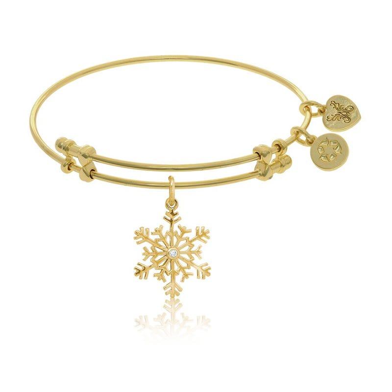 Snowflake & Crystal Charm Bangle Bracelet in Yellow Brass