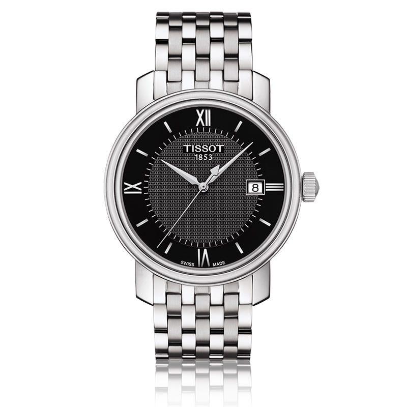 Tissot Bridgeport  Men's Quartz Black Dial Stainless Steel Bracelet Watch T0974101105800