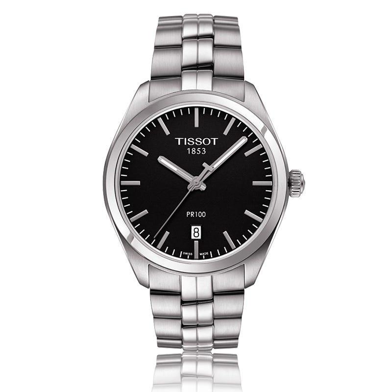 Tissot Pr 100 Men's Quartz Black Dial Stainless Steel Bracelet Watch T1014101105100