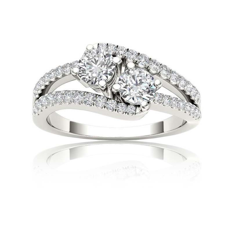 You & Me 1ct. Split Shank Diamond 2 Stone Ring in 14k White Gold