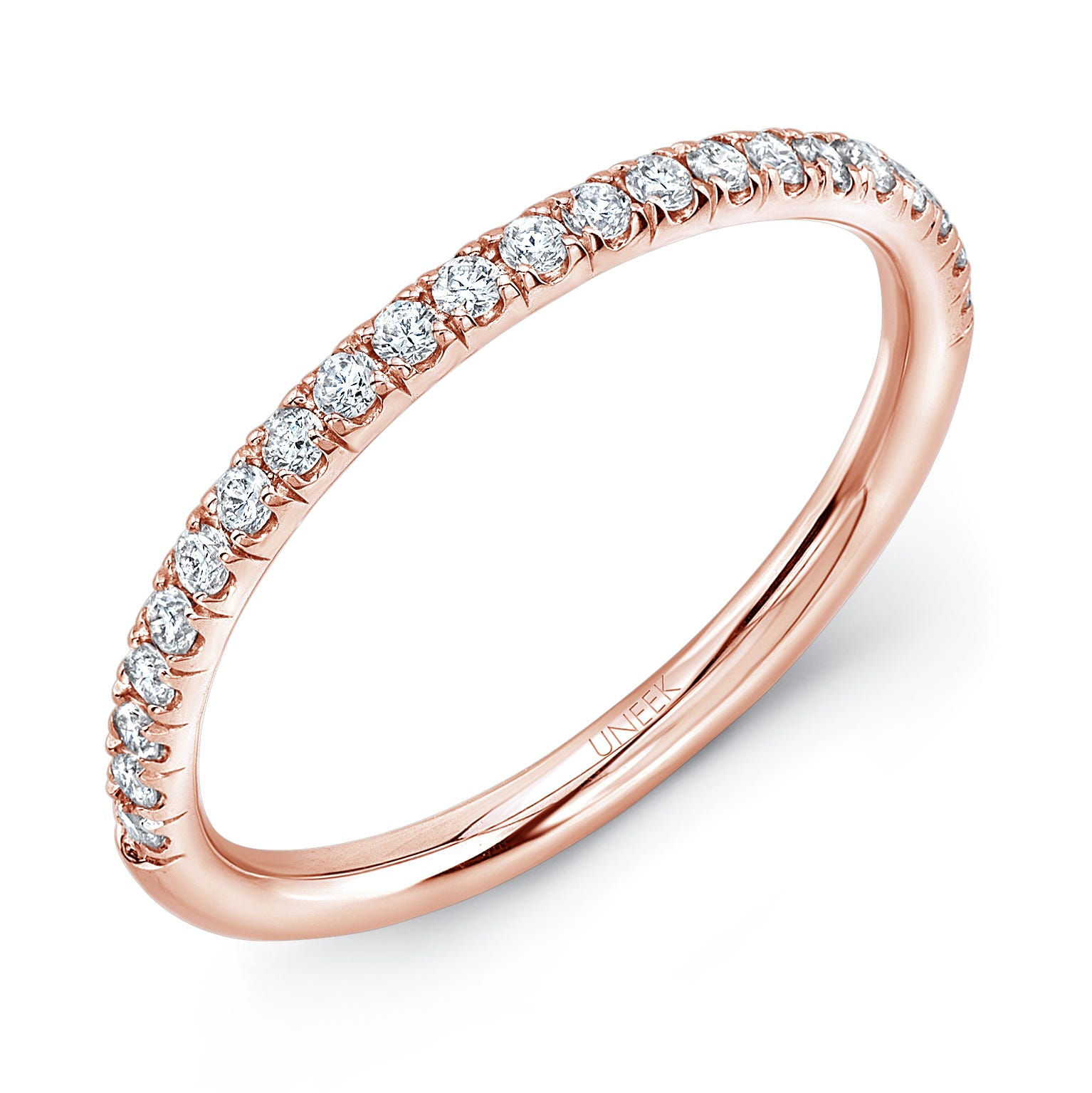 Uneek Round Diamond Wedding Band in 14K Rose Gold