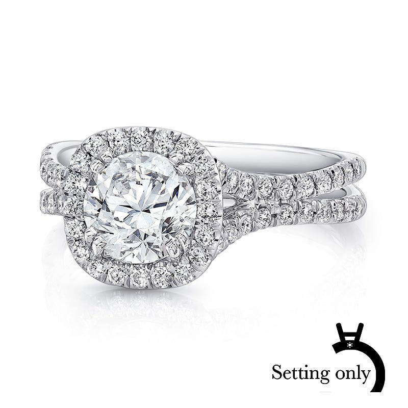 Uneek Diamond Cushion-Shaped Halo & Pave Double Shank Semi-Mount in 14K White Gold
