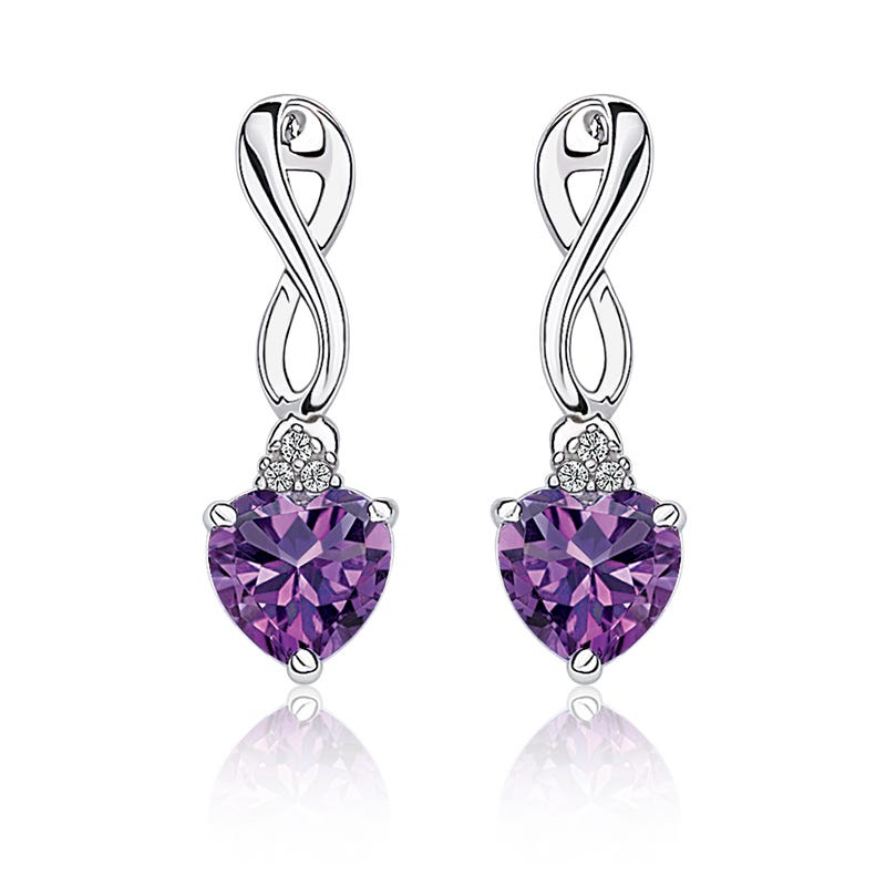 Amethyst Heart & Diamond Drop Earrings in Sterling Silver
