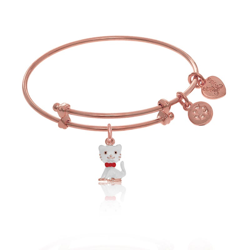 Cat Tween Charm Bangle Bracelet in Pink Brass