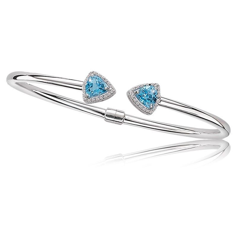 Blue Topaz Triangle & Diamond Wrap Bangle
