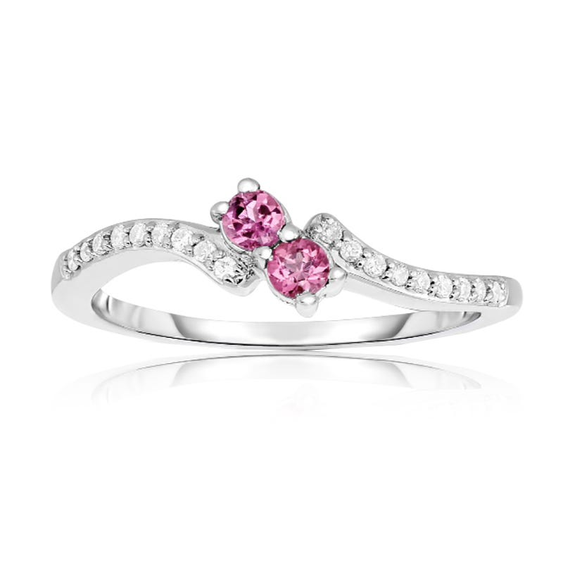 You & Me Two-Stone Pink Gemstone & Diamond Ring in 10k White Gold