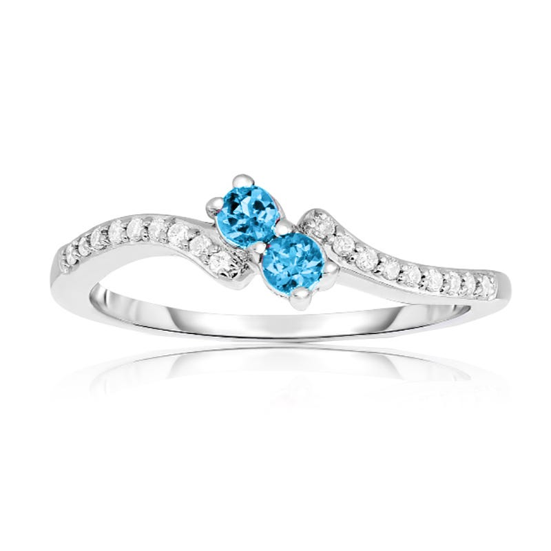 You & Me Two-Stone Blue Topaz & Diamond Ring in 10k White Gold