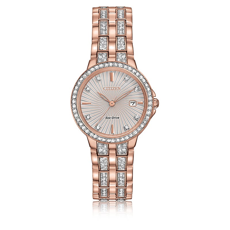Citizen® Ladies Eco-Drive Crystal Accent Rose Gold-Tone Stainless Steel Bracelet Watch 28mm EW2348-56A