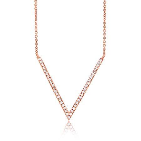 Shy Creation Diamond V-Shape Necklace 14k Rose Gold SC55001470