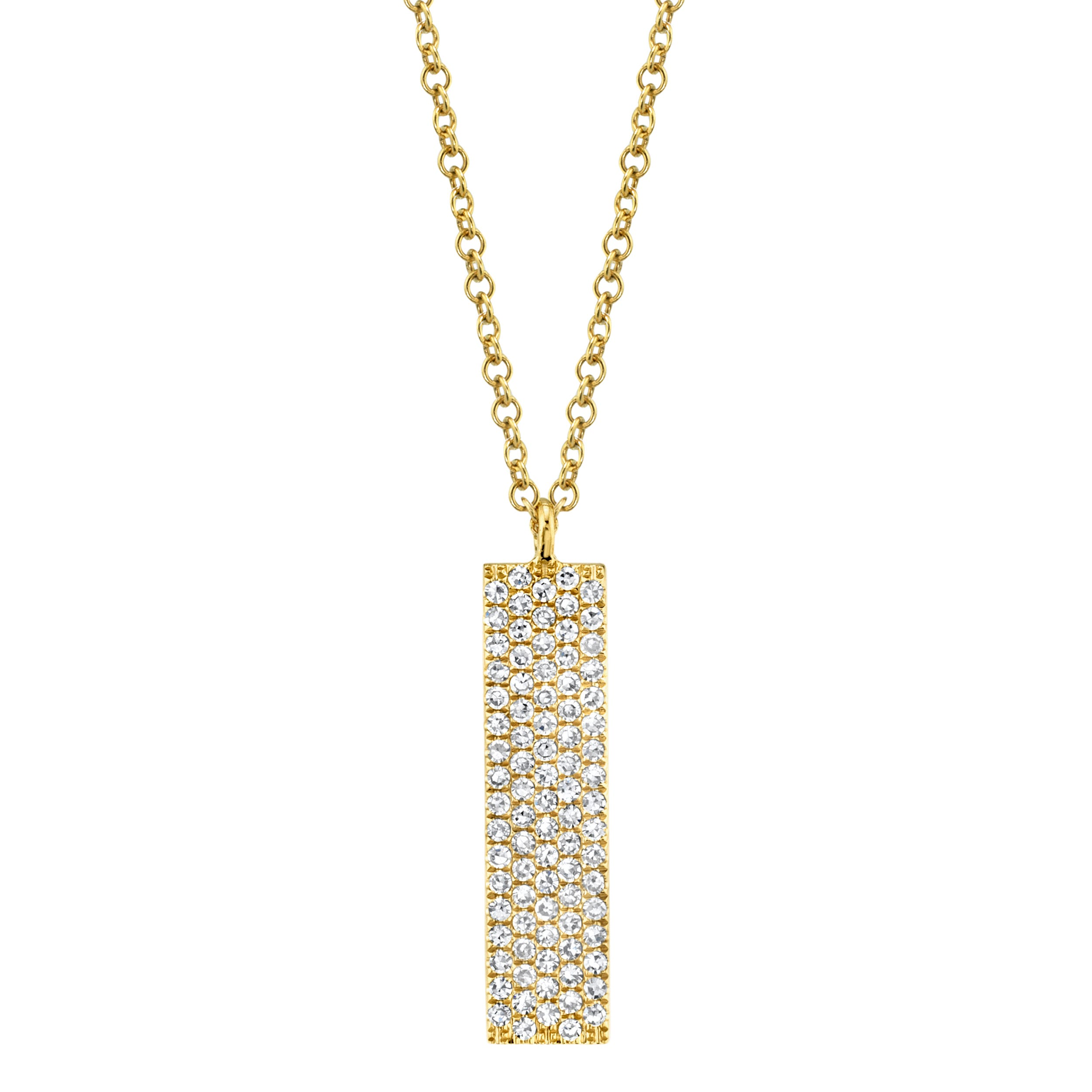 Shy Creation Diamond ¼ct. Vertical Bar Necklace14k Yellow Gold SC55001720