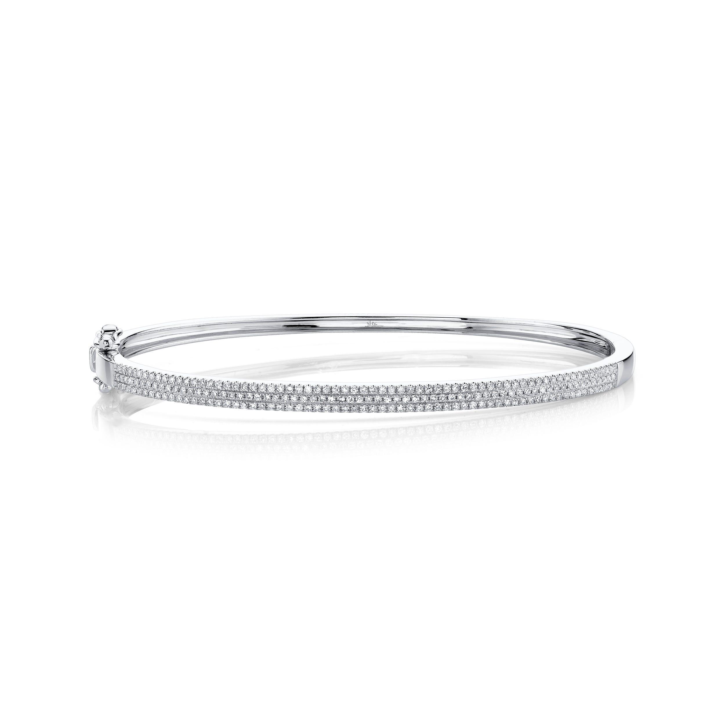 Shy Creation Diamond ½ct. Pave Bangle Bracelet 14k White Gold SC55002255ZS