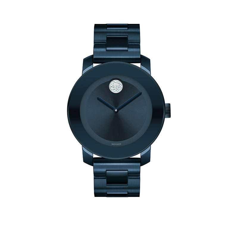 Movado BOLD Mid-Size Blue Ion-Plated & Crystal Dot Watch 3600388