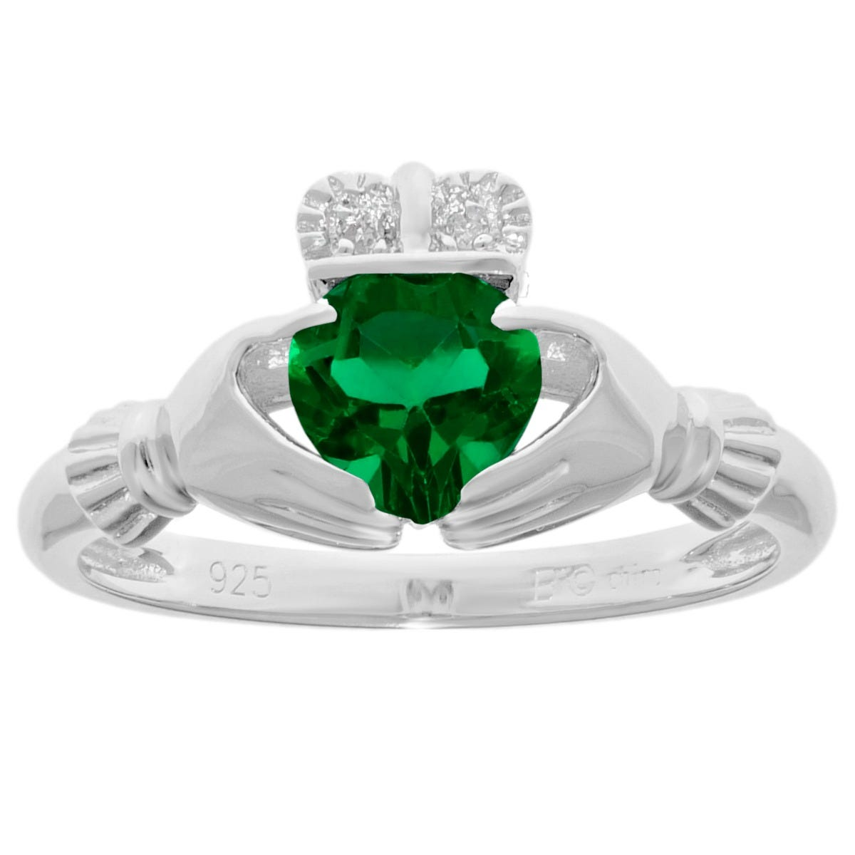 Claddagh Emerald Heart Ring in Sterling Silver