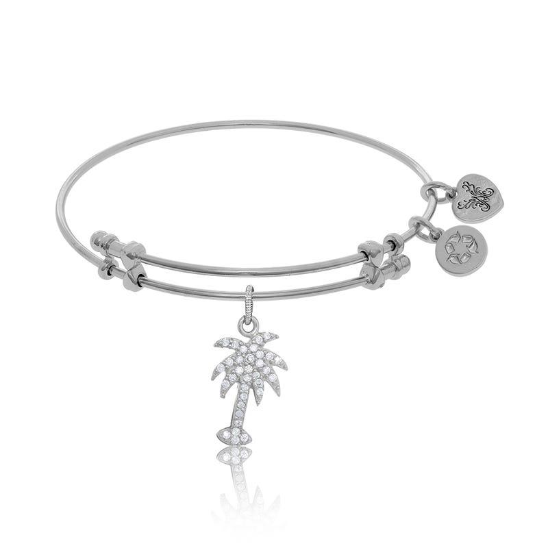Palm Tree Crystal Charm Bangle Bracelet in White Brass