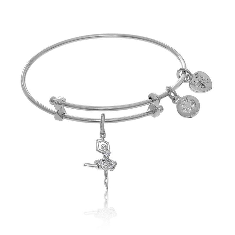 Ballerina Crystal Tween Charm Bangle Bracelet in White Brass