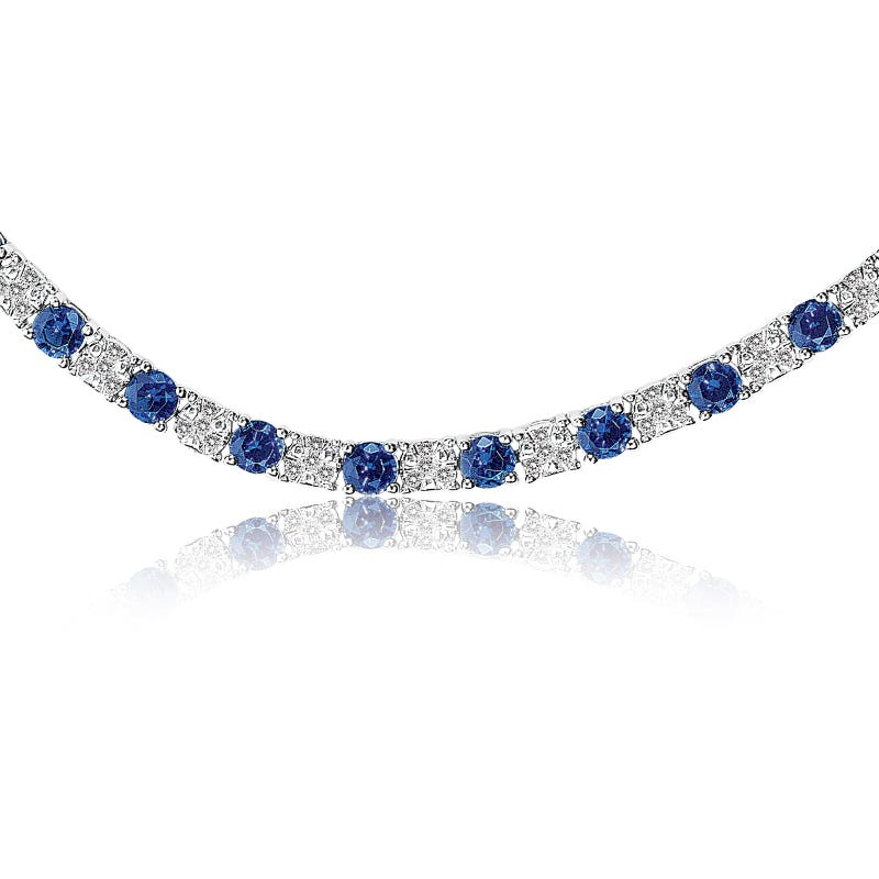 Sapphire & Diamond Tennis Bracelet in White Gold