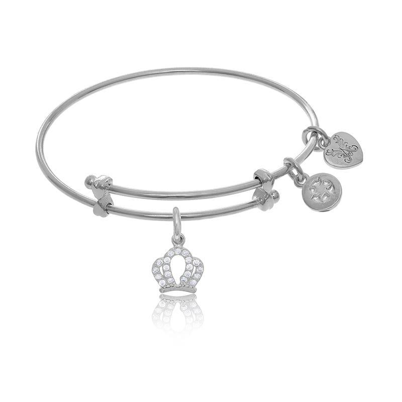 Crown Crystal Tween Charm Bangle Bracelet in White Brass