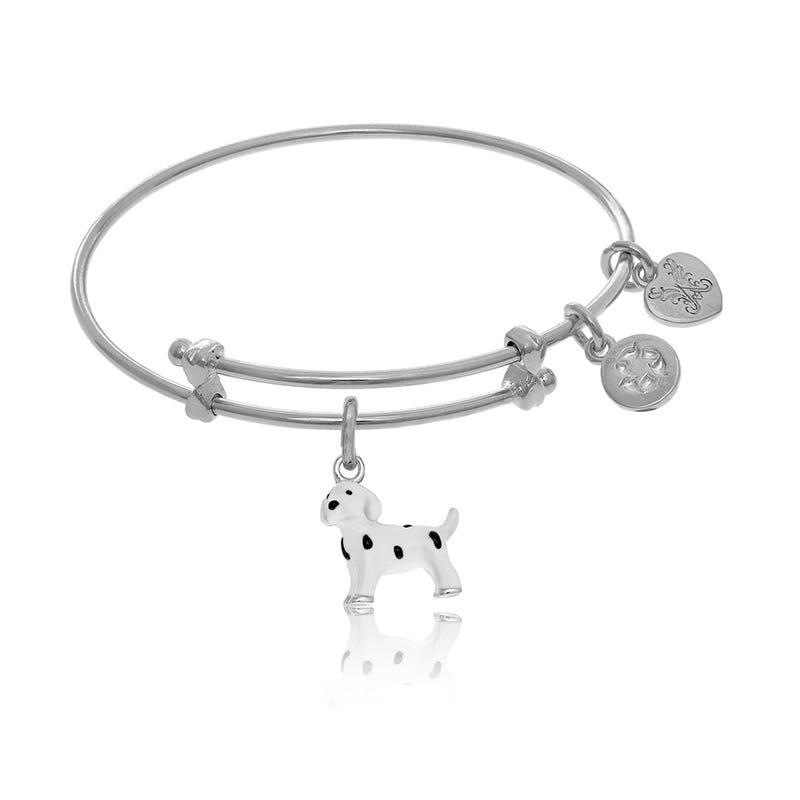 Dalmatian Tween Charm Bangle Bracelet in White Brass