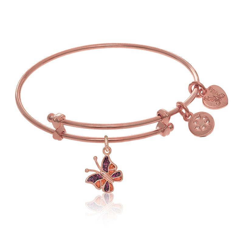Purple & Orange Butterfly Tween Charm Bangle Bracelet in Pink Brass