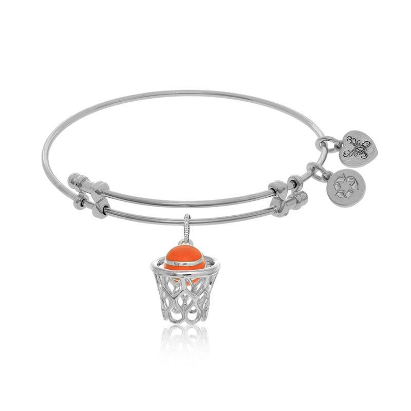 Hoop & Basketball Charm Bangle Bracelet in White Brass