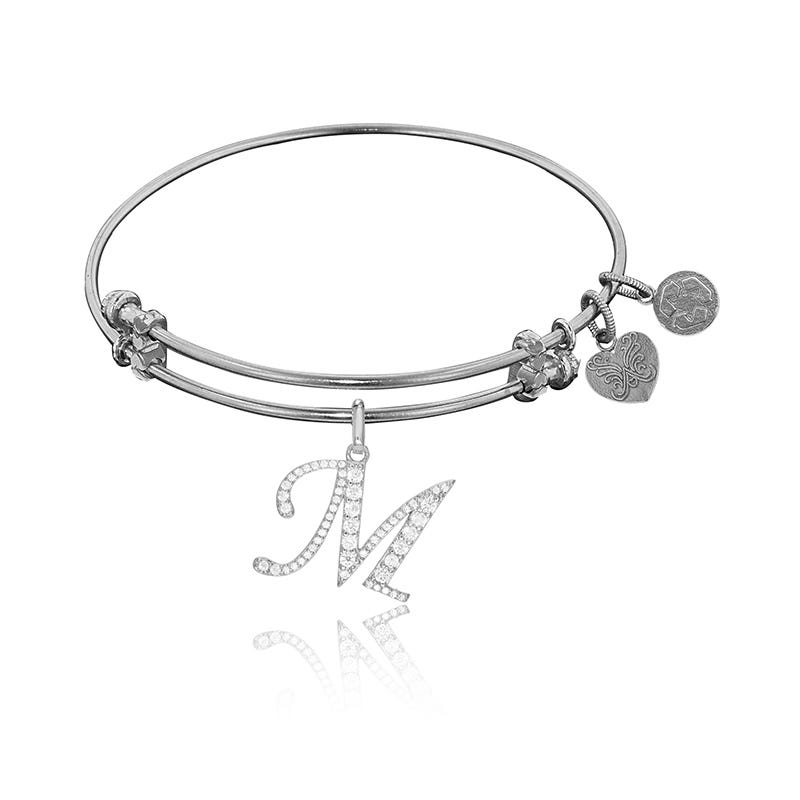 Initial M Crystal Charm Bangle Bracelet in White Brass