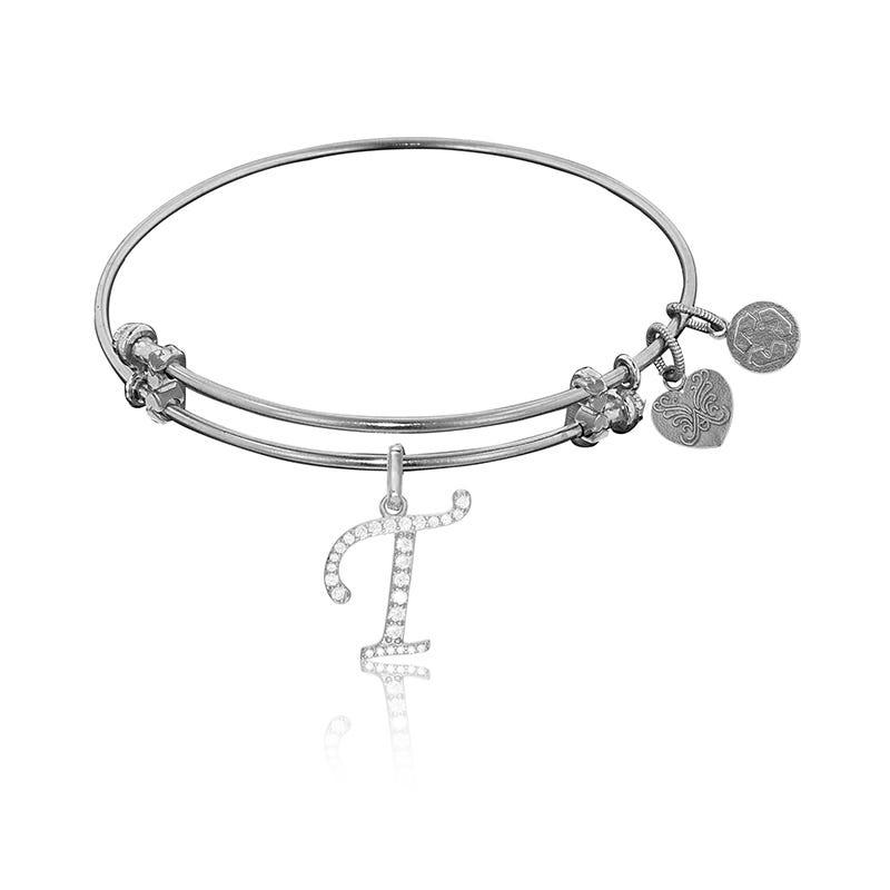 Initial T Crystal Charm Bangle Bracelet in White Brass