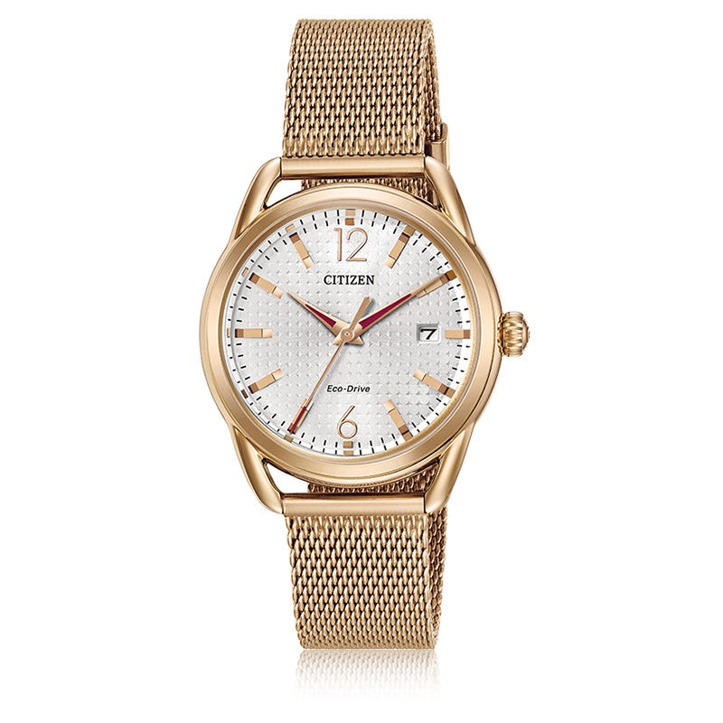 Citizen Ladies Drive Rose Tone Mesh Bracelet Watch FE6083-72A