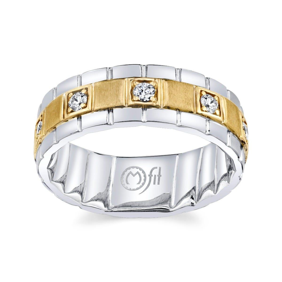 Men's MFIT Diamond Band 1/3ctw in 10k White & Yellow Gold