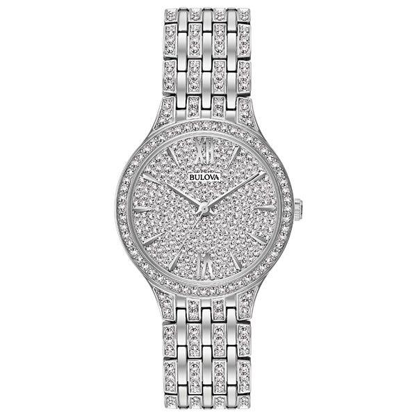 Bulova Women's Crystal Accented Stainless Steel Bracelet Watch 32mm 96L243