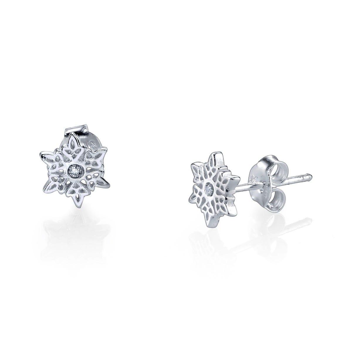 Disney© Frozen Let It Go Crystal Snowflake Stud Earrings