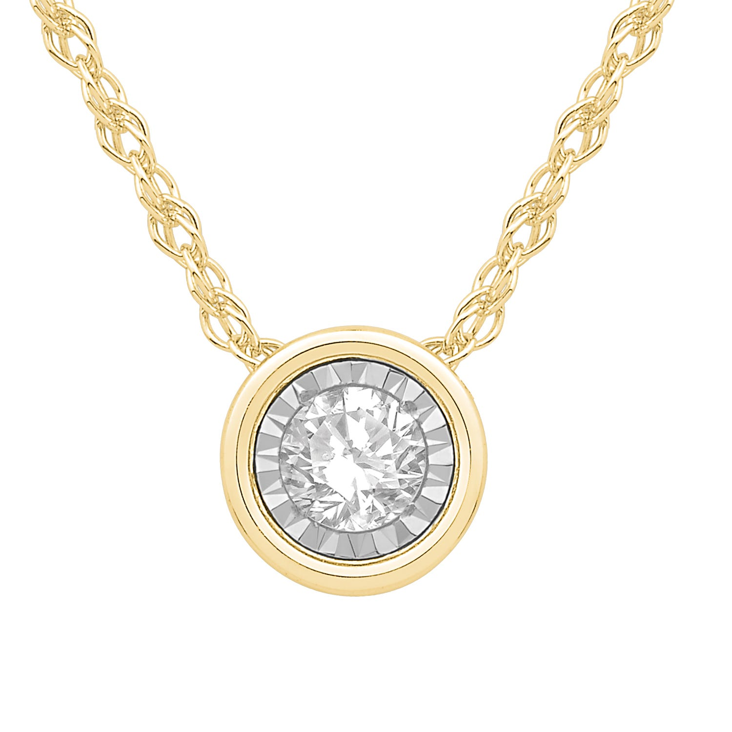 Bezel-Set Diamond 1/5ctw. (HI, I2-3) Solitaire Pendant in 10k Yellow Gold