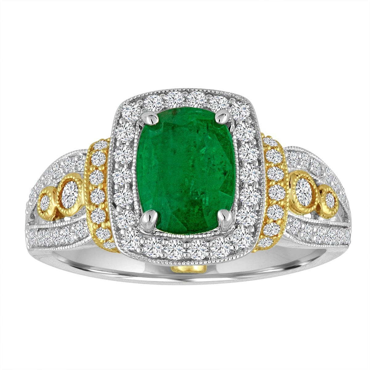 Emerald & Diamond Halo Vintage-Inspired Ring in 14k White & Yellow Gold