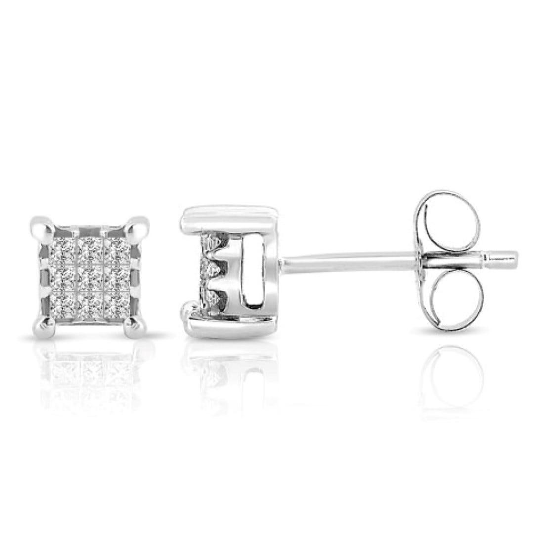 Diamond Mini Princess-Cut Stud Earrings in 14k White Gold