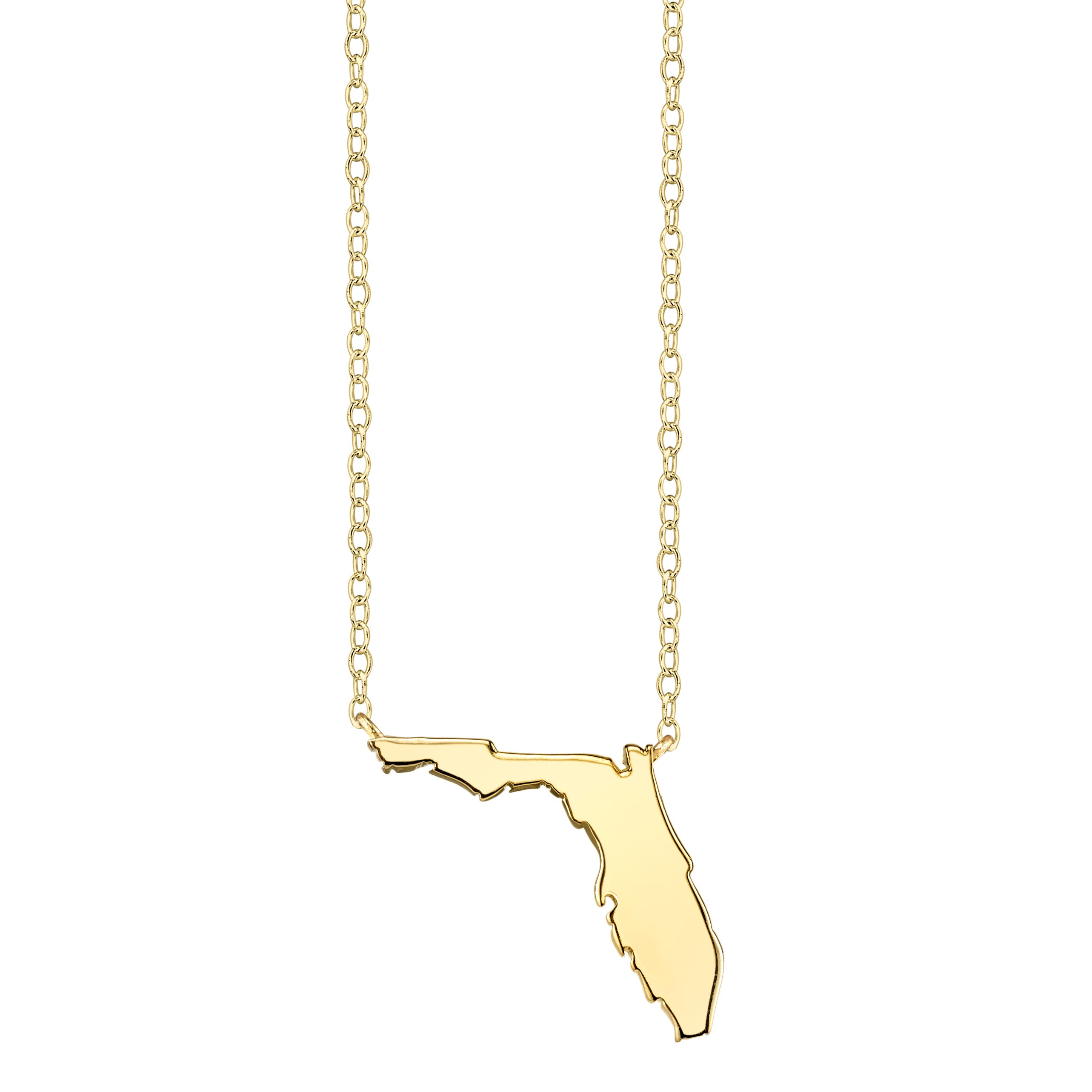 Florida State Pendant Necklace in Yellow Gold Plated Sterling Silver