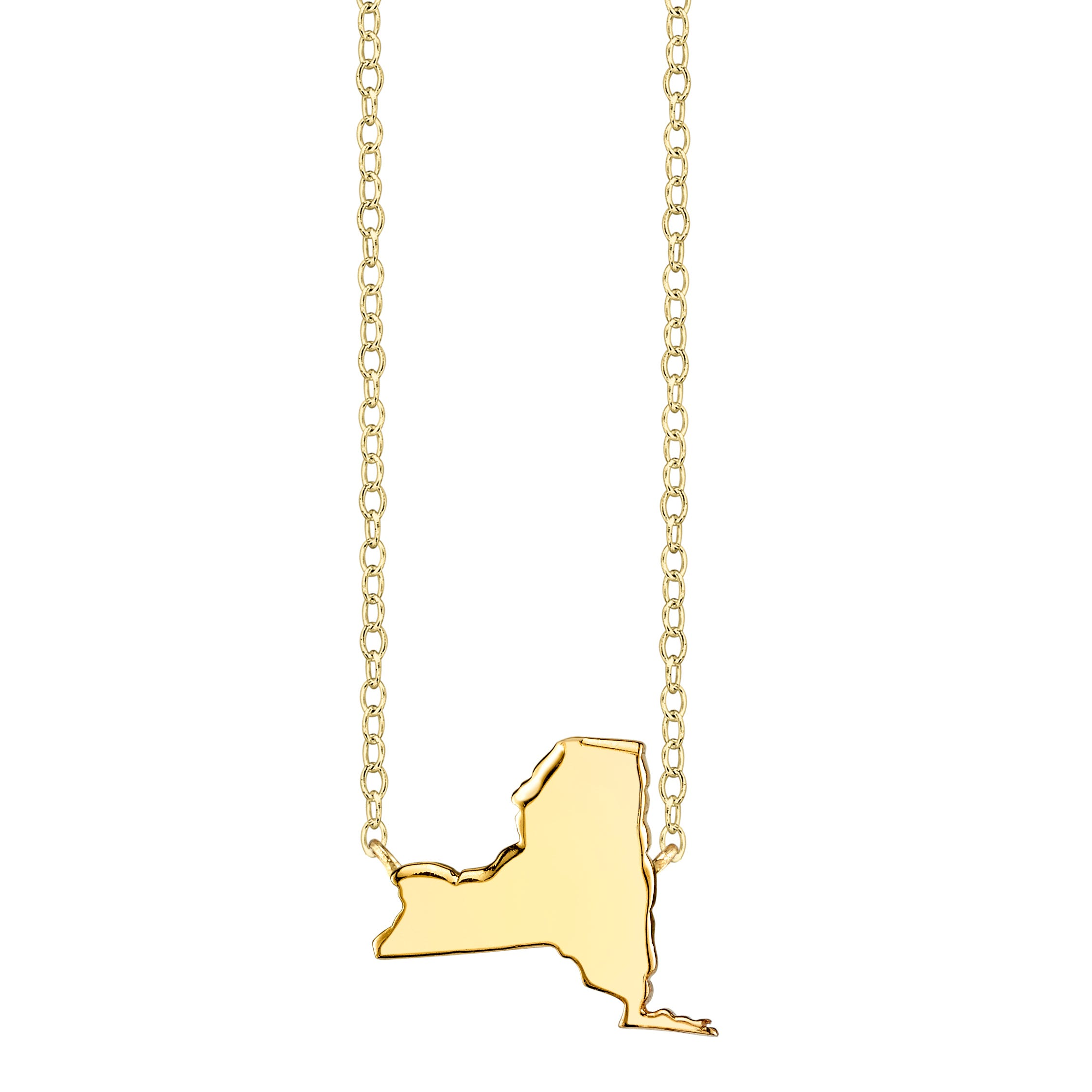 New York State Pendant Necklace in Yellow Gold Plated Sterling Silver