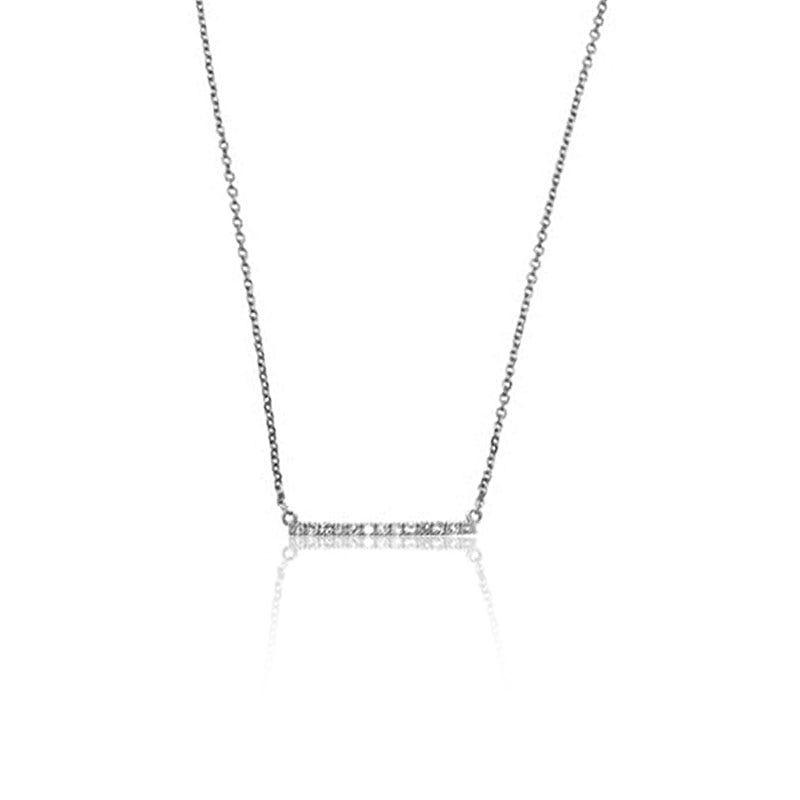Diamond Bar Straight Across Fashion Pendant in 14k White Gold