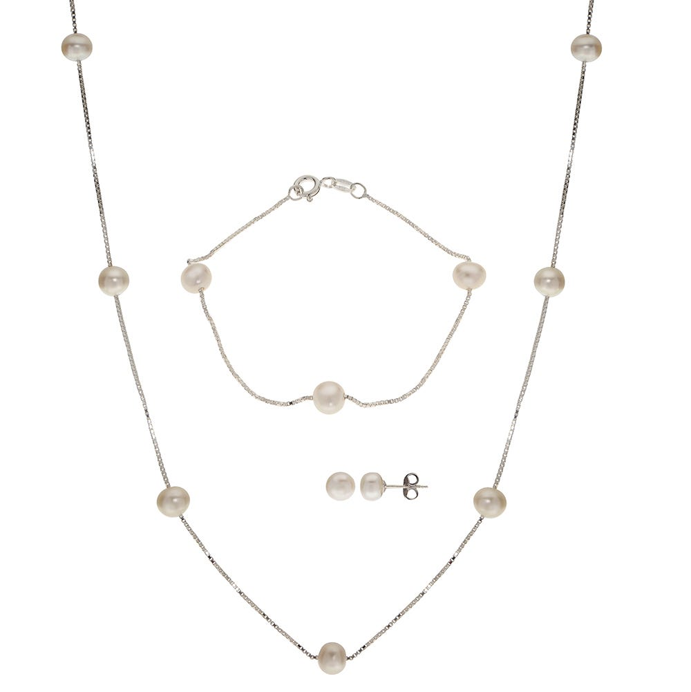 Imperial Pearl Freshwater Pearl 3-piece Necklace, Bracelet, and Earring Set
