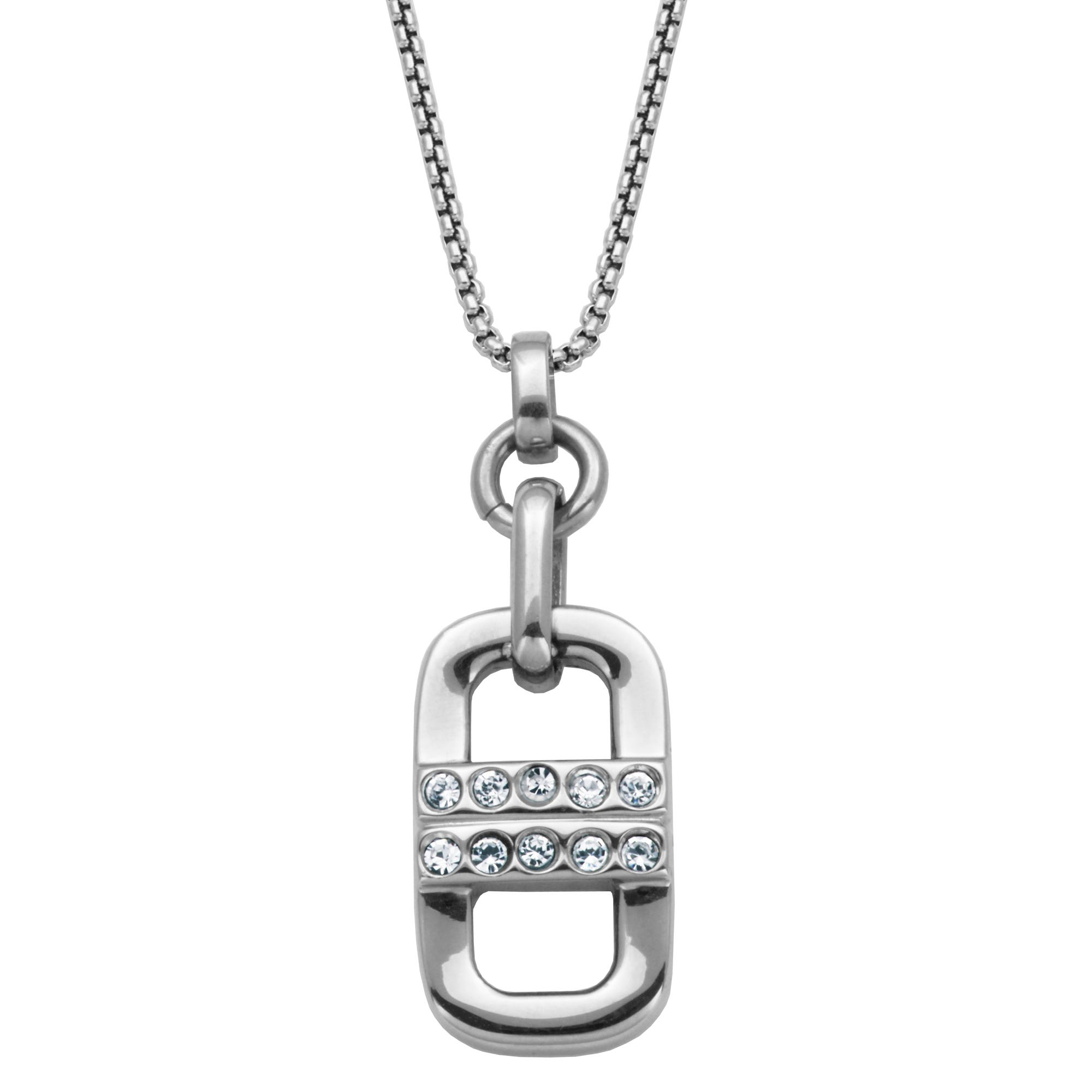 Stainless Steel Double Marine Link Fashion Necklace with Crystals in Stainless Steel