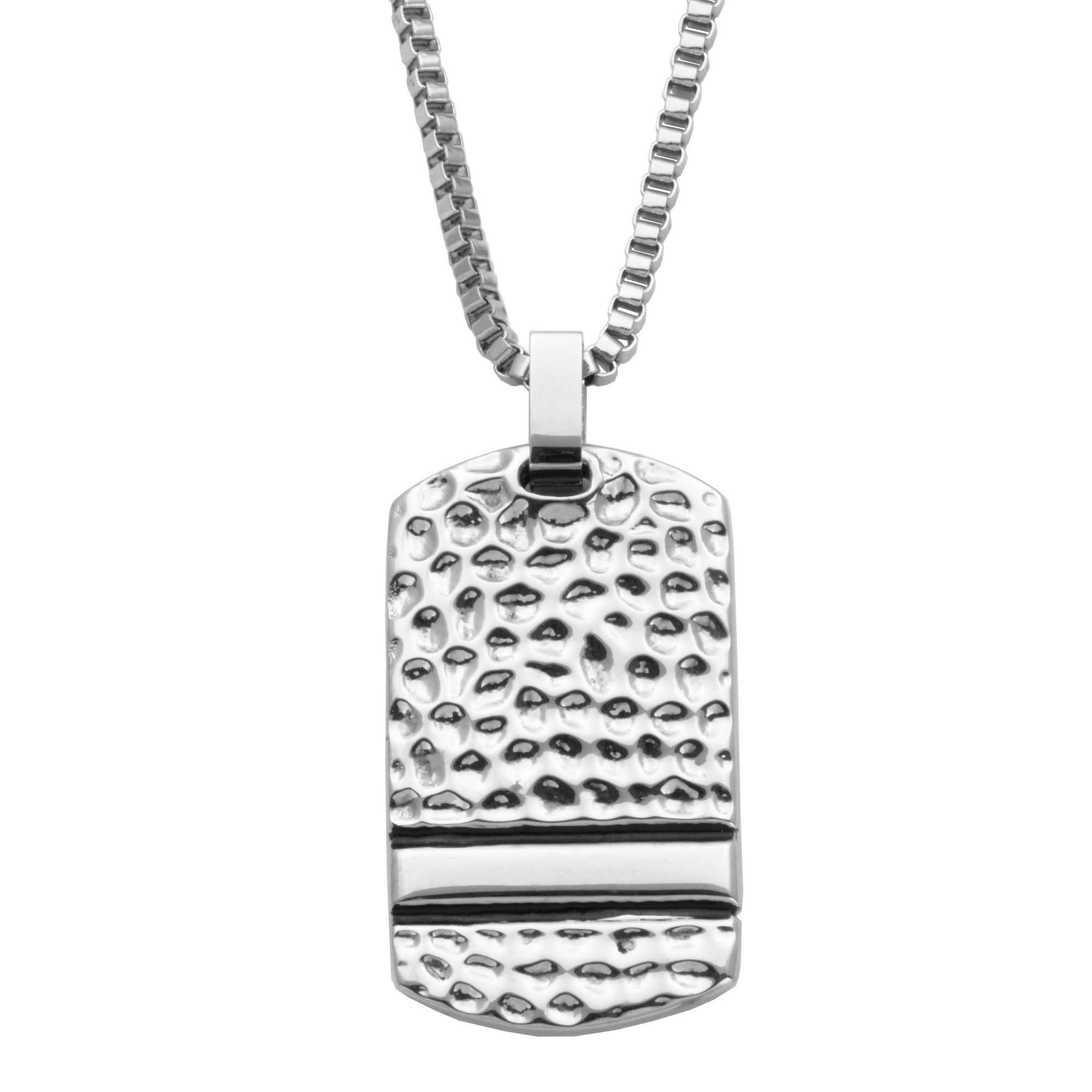 Hammered Look Stainless Steel Dog Tag Fashion Necklace
