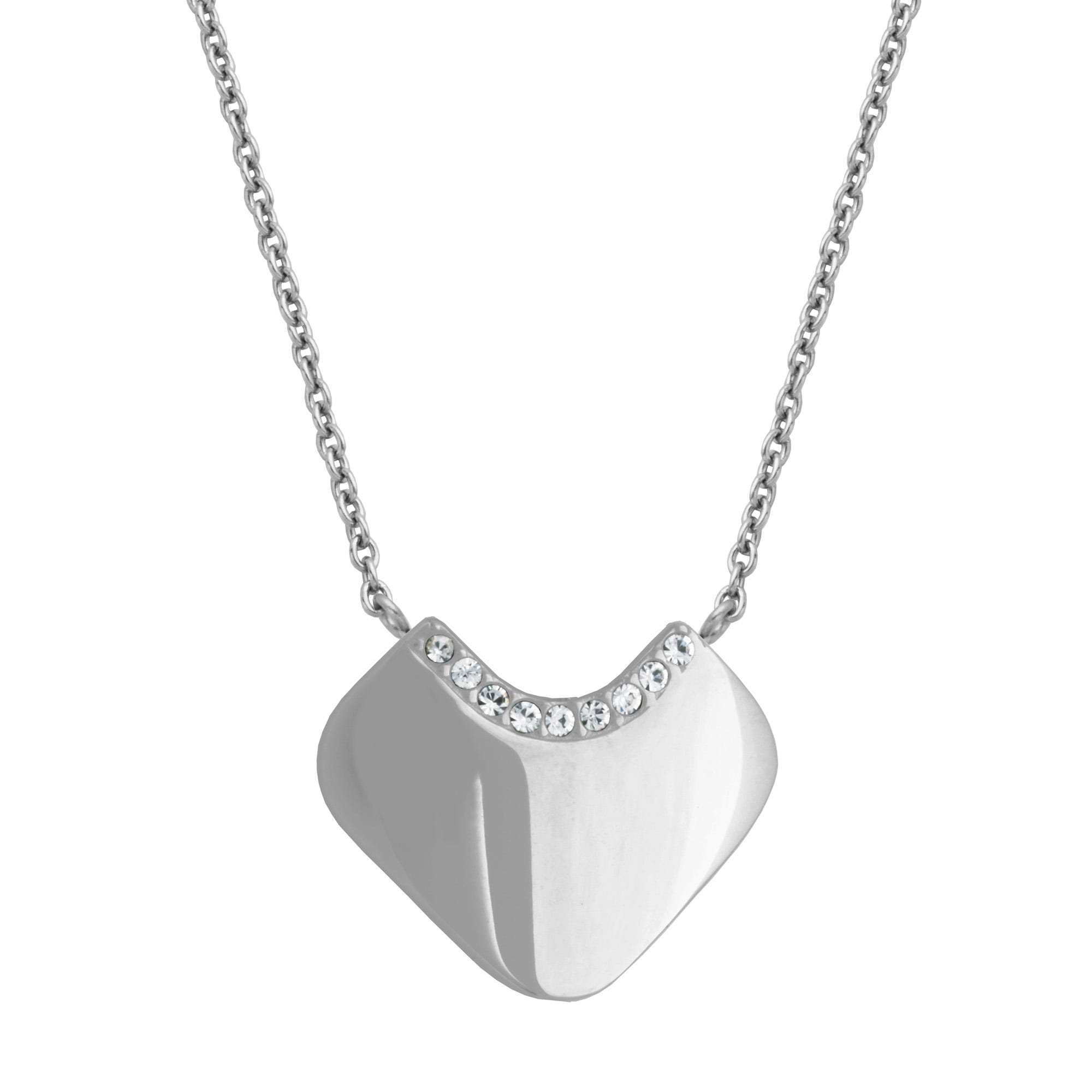 Heart Cleopatra Style Crystal Fashion Necklace in Stainless Steel