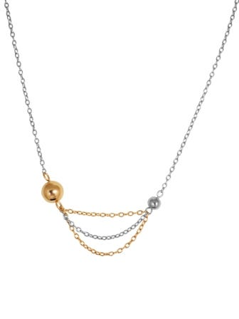 Multi Chain Fashion Necklace in Stainless Steel & Rose Gold Plate