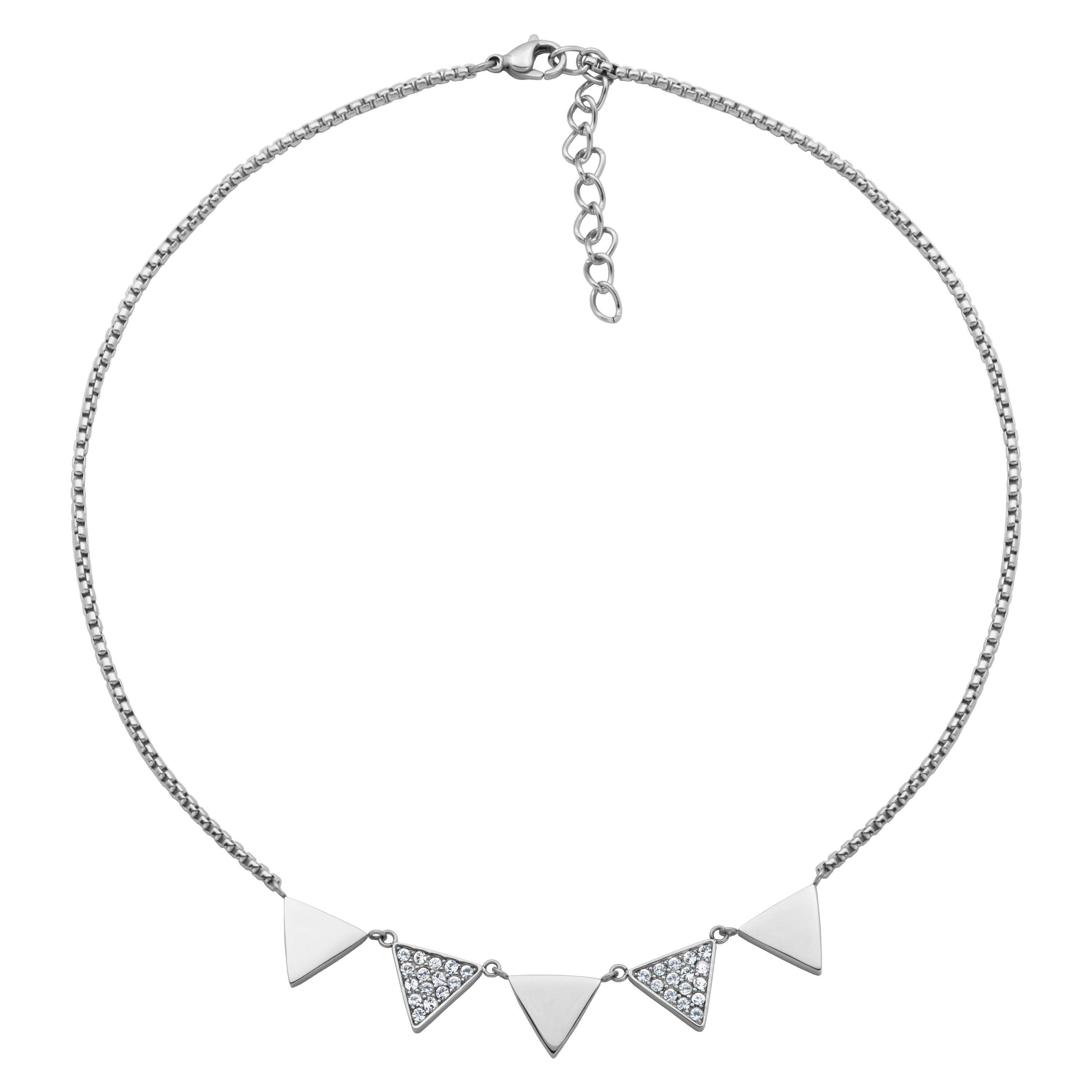 Triangle Fashion Necklace with Crystals in Stainless Steel
