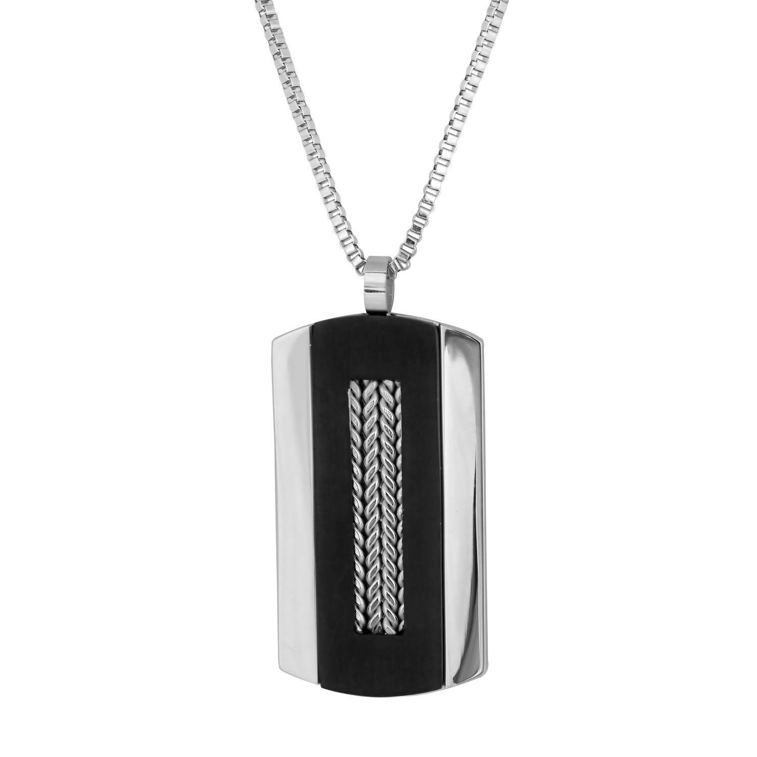 Black Plated Dog Tag Fashion Necklace in Stainless Steel