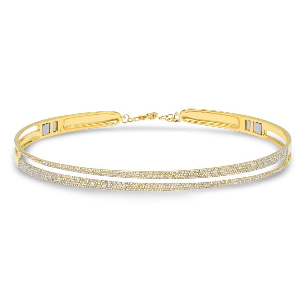Shy Creation  Double Row Diamond Choker in 14k Yellow Gold SC55004423
