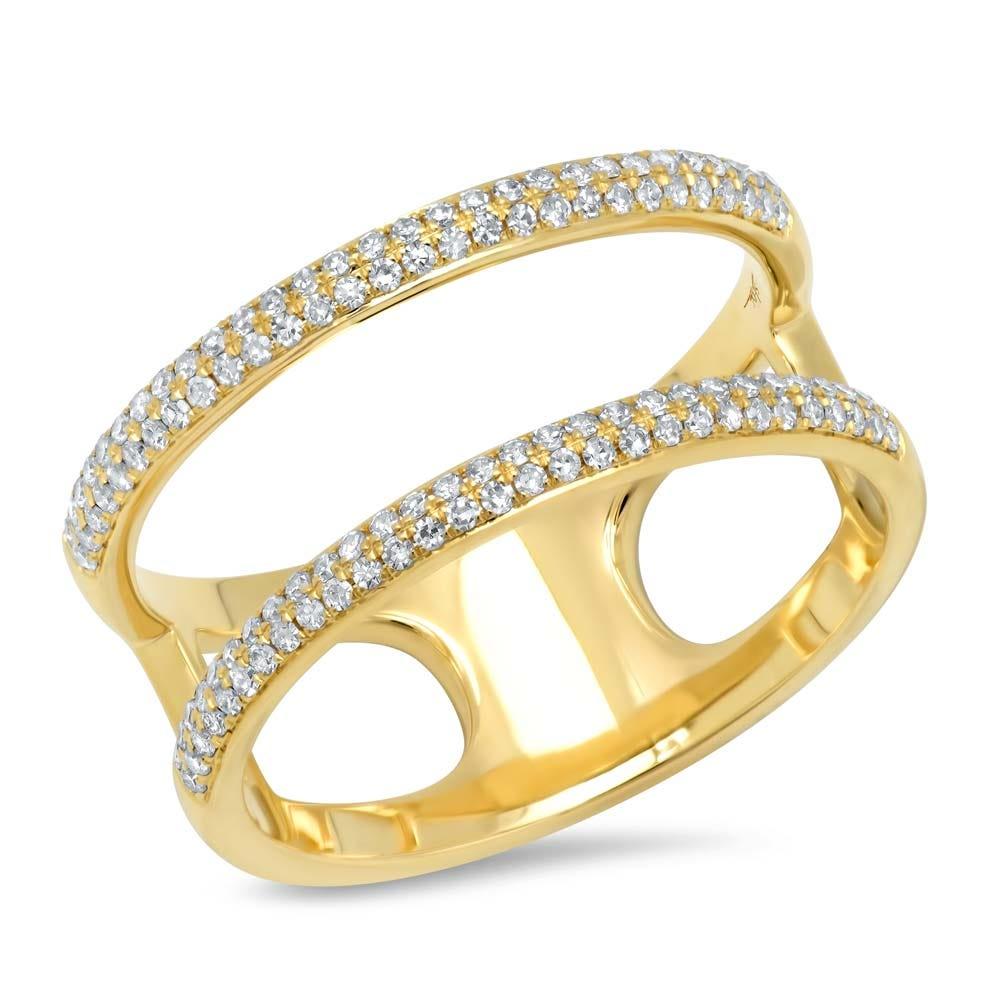 Shy Creation Diamond Split Fashion Ring in 14k Yellow Gold SC55002846V2