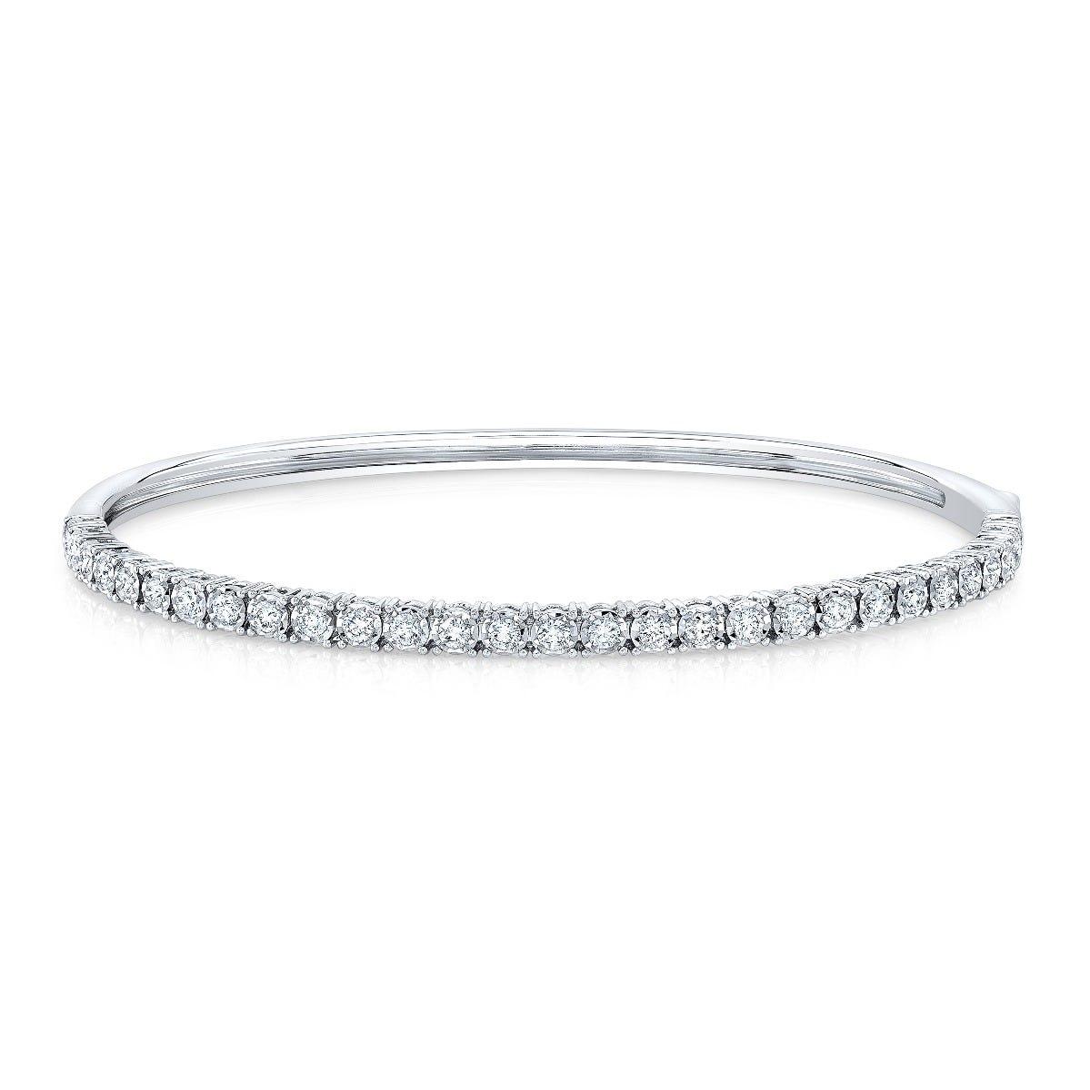 Diamond 1ctw. Prong Bangle in 14k White Gold